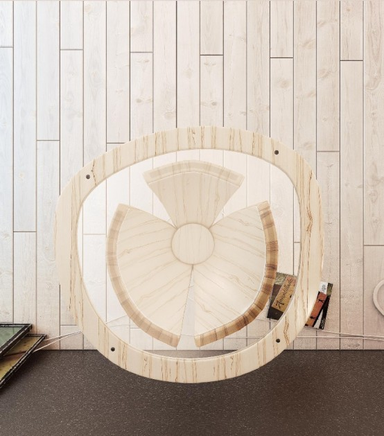 Modern Banana Table Featuring Sculptural Design