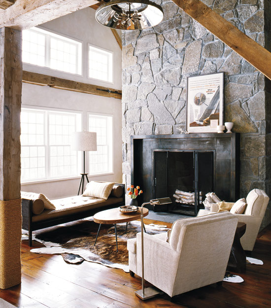 Modern Barn Fireplace