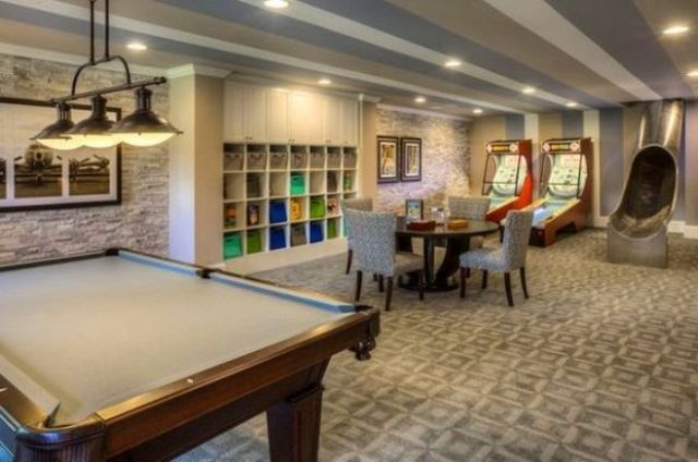 modern basement game room decor