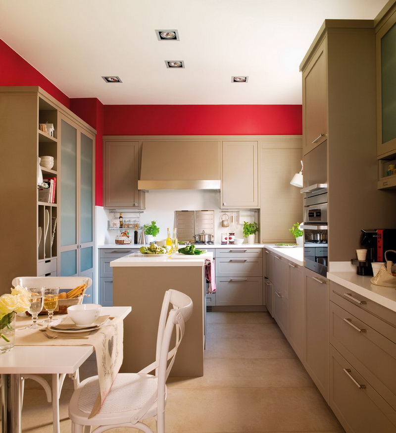 Modern beige kitchen design with red walls digsdigs for Kitchen accent wall