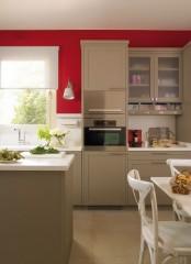 Modern Beige Kitchen With Red Walls