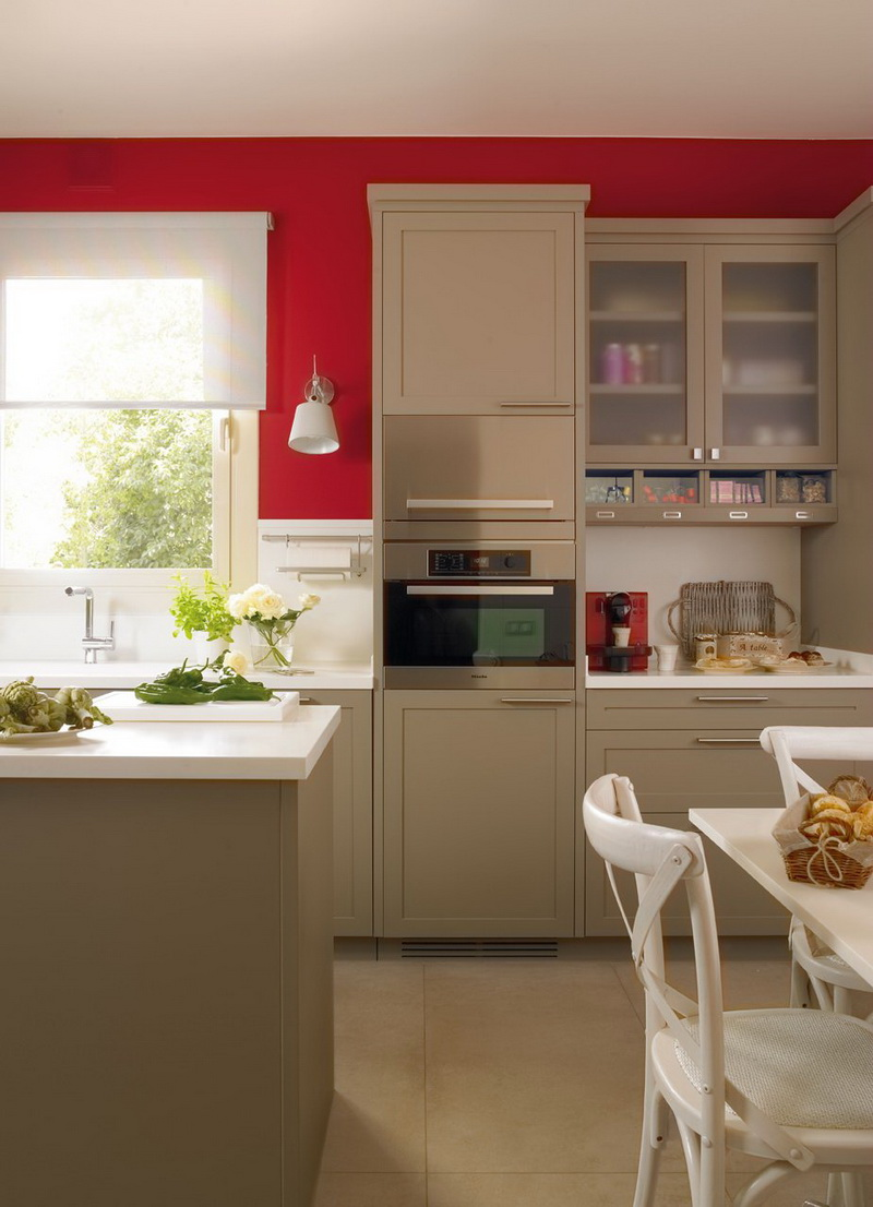 Red Colour Wall: Modern Beige Kitchen Design With Red Walls