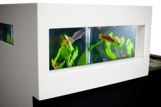 modern two level black and white aquarium digsdigs. Black Bedroom Furniture Sets. Home Design Ideas