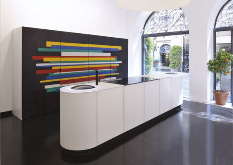Modern Black-And-White Kitchen With Colorful Details by GD Cucine and Cotto Veneto