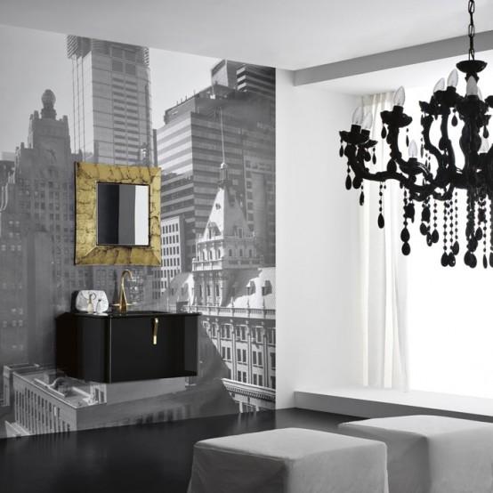 Modern Black Wall Mounted Washbasin Cabinet
