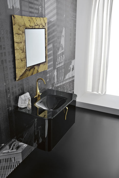 Modern Black Wallmounted Washbasin Cabinet