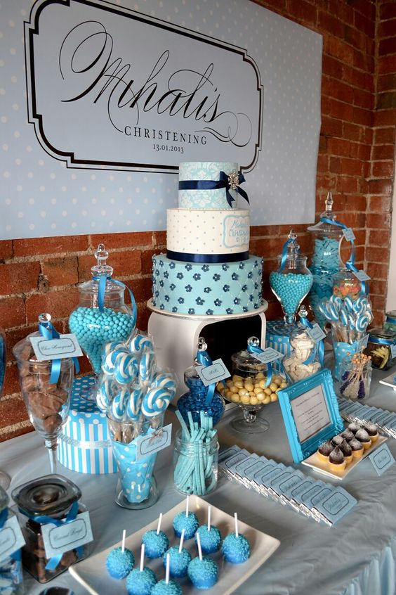 Modern Blue Dessert Table For A Boy Baby Shower