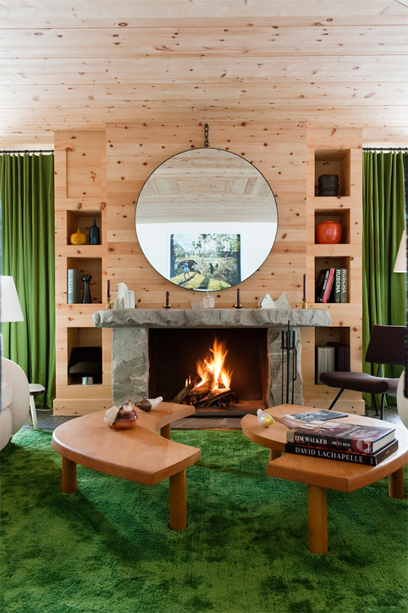 Picture Of modern chalet with wood clad interiors and touches of green  2