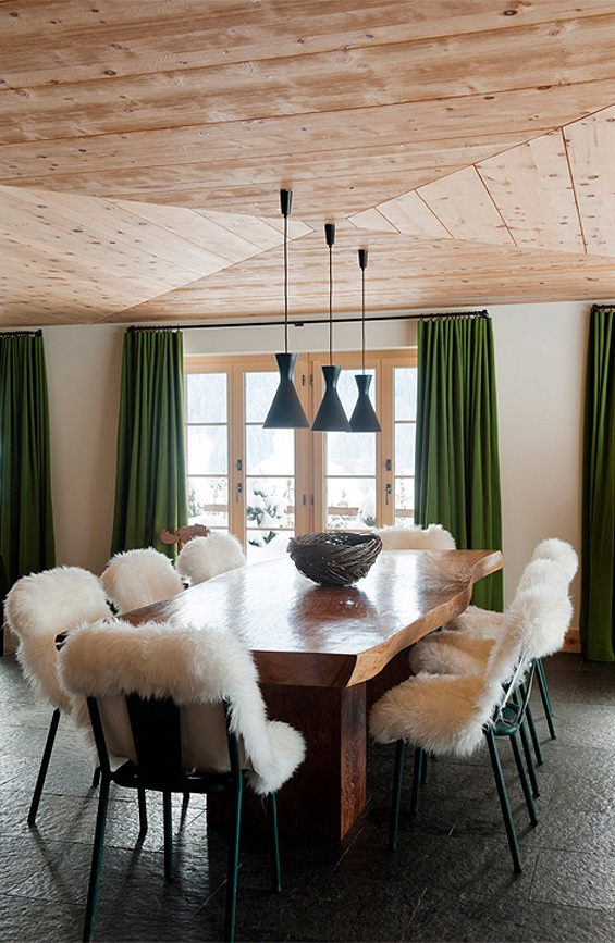 Picture Of modern chalet with wood clad interiors and touches of green  4