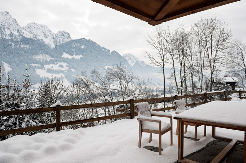 Picture Of modern chalet with wood clad interiors and touches of green  9