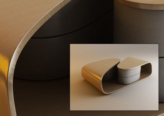 modern curved coffee table with rotating drawers - digsdigs