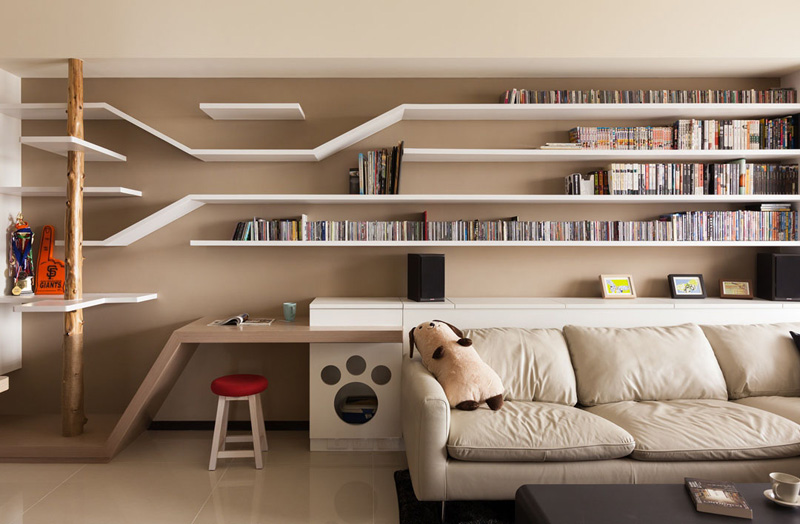 Picture Of modern custom shelving to keep the cat happy  2