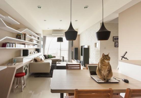 Modern Custom Shelving To Keep The Cat Happy