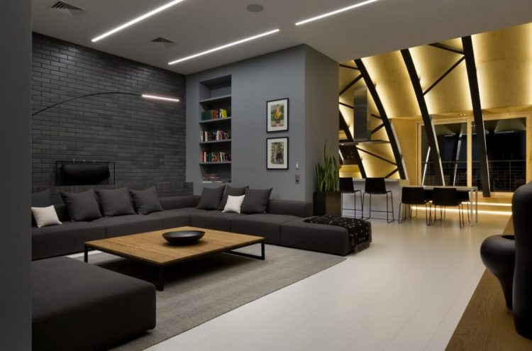 Modern Dark Penthouse With Steel Beam Structures
