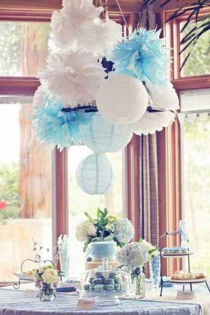 Picture of modern dessert table for a boy baby shower for Baby shower modern decoration