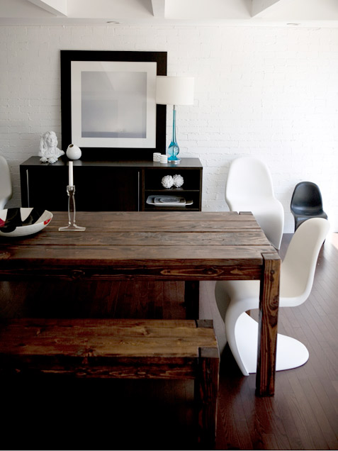 Modern Dining Area With Raw Wood Table