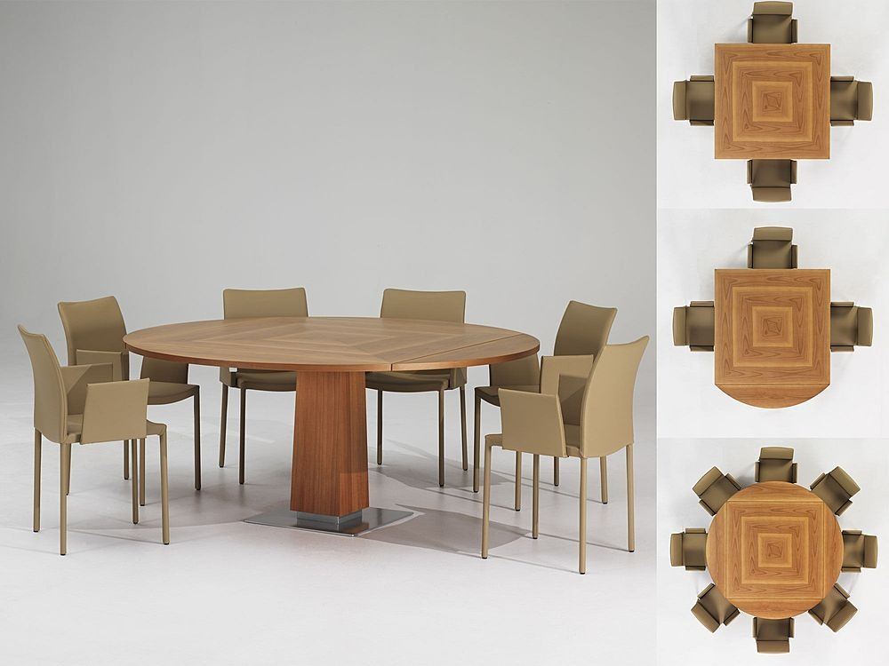 Modern expandable dining table with wooden finish petite for Wood modern dining table
