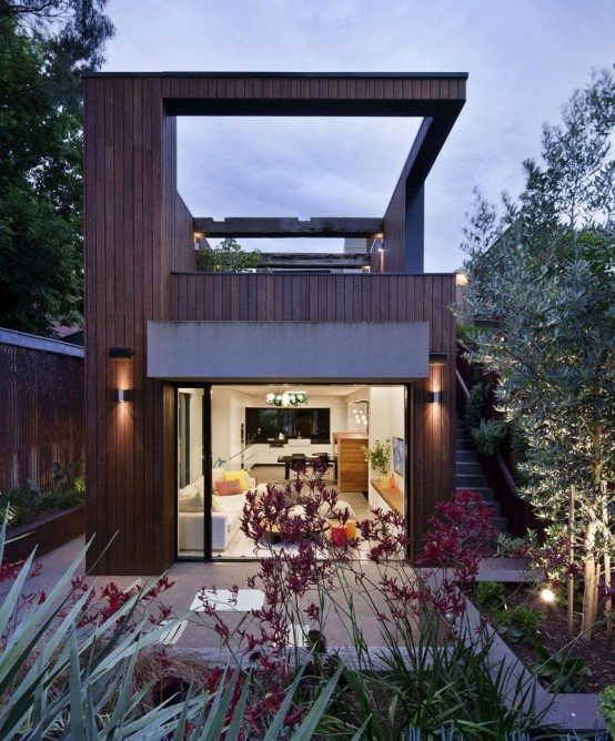 Modern family home behind a heritage facade digsdigs - House behind a house designs ...