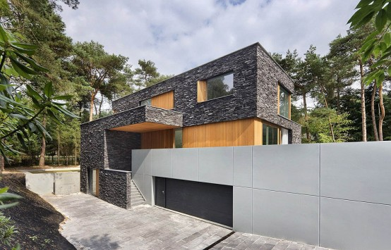 Modern Forest House Finished With Stone – Bosvilla Soest by Zecc Architecten