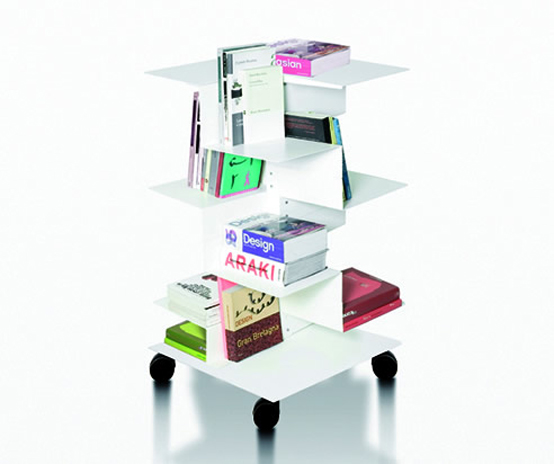 Modern and Asymmetric Freestanding Bookcases – Librespiral by Gerardo Mari