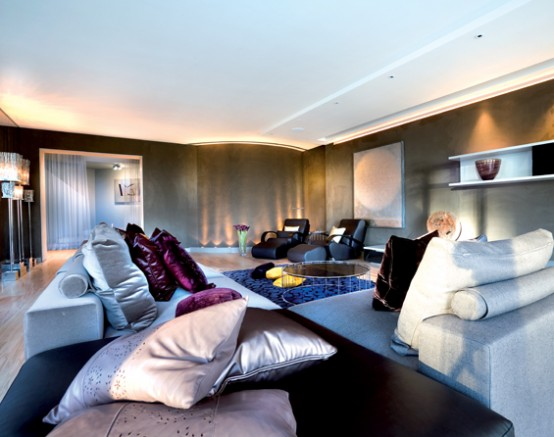 Modern glamorous interior design by shh digsdigs for Glam modern living room