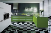 a contemporary kitchen with a black and white tile floor, bold green cabinets, a white storage unit and stainless steel appliances is wow
