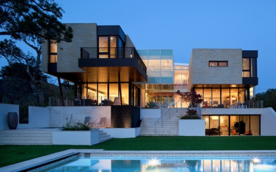 Modern House With Complex Geometry Overlooking The Water