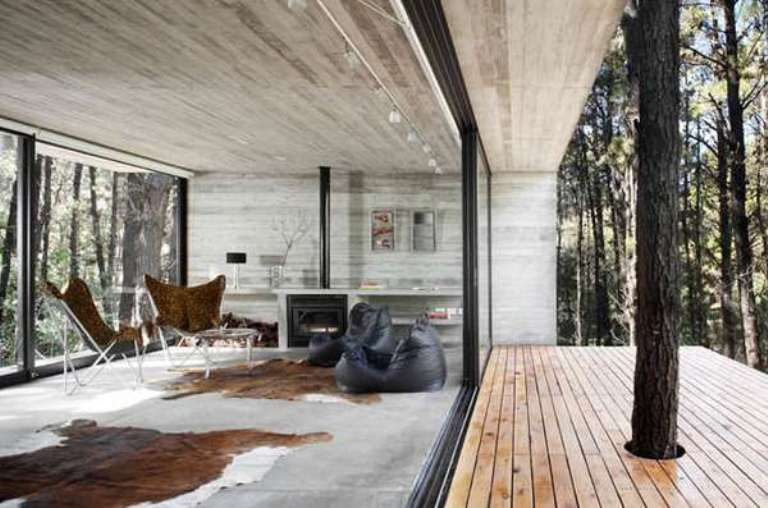Modern Holiday House Of Concrete Opened To Nature | DigsDigs