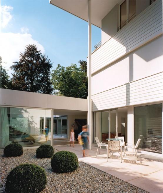 Modern House With Garden Behind Walls