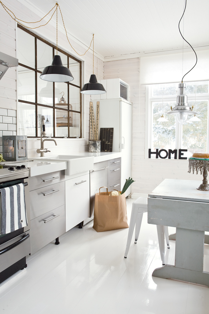 modern industrial kitchen design with light fixtures from ikea