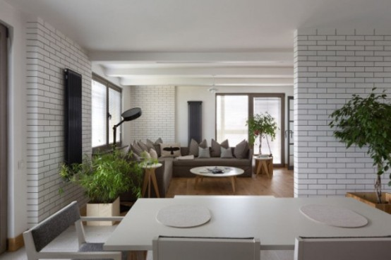 Modern Kiev Apartment With White Brick Walls
