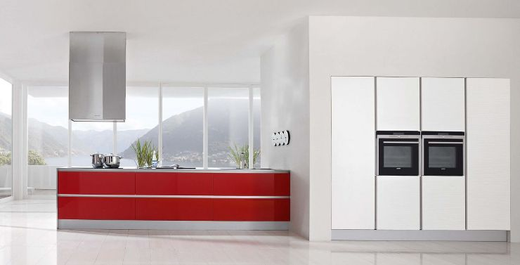 Modern Kitchen Designs With Red And White Cabinets Home Decorating - Gray and red kitchen ideas