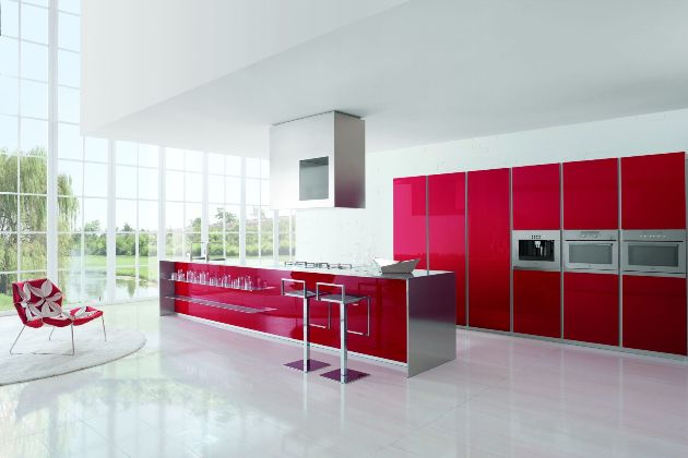 Modern kitchen designs with red and white cabinets from for Red kitchen designs photo gallery