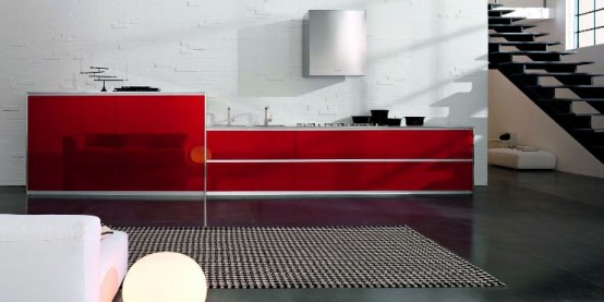 Modern Kitchen Designs with Red and White Cabinets from Doimo ...