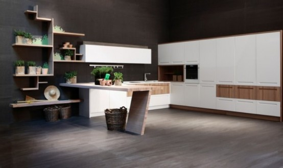 Modern Kitchen Of Natural Elm Wood By Stosa - DigsDigs