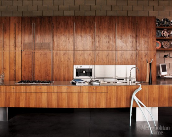 Modern Kitchen With American Black Walnut Cabinets