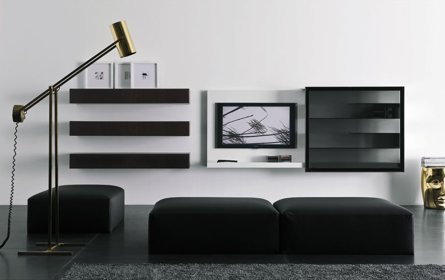 Modern lacquered tv cabinets spazio box from pianca digsdigs - Contemporary tv wall unit designs ...