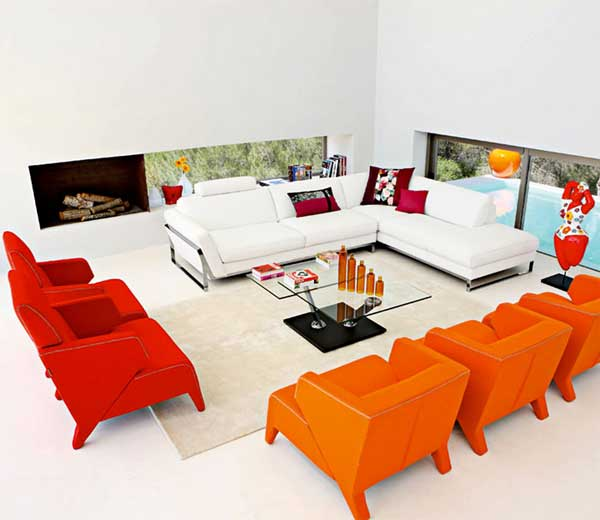 Modern Living Room With Vibrant Accents