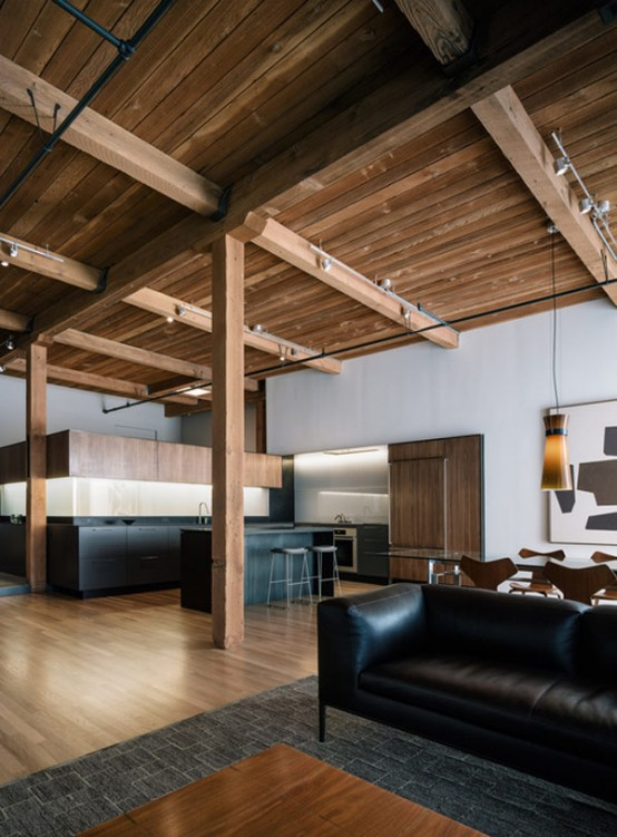 Modern Loft Renovation With Lots Of Wood In The Decor Digsdigs