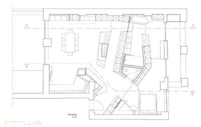 Modern Loft With A Freestanding Centralized Wood Veneer Kitchen