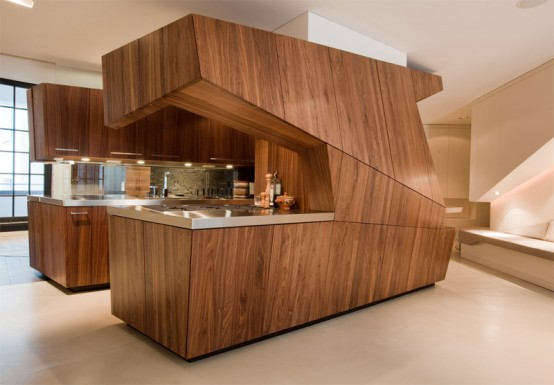 Modern Loft With A Freestanding Centralized Wood Veneer Kitchen