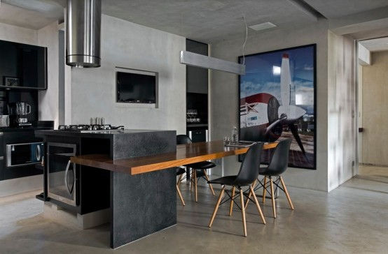 Modern Loft With Concrete And Wood Details