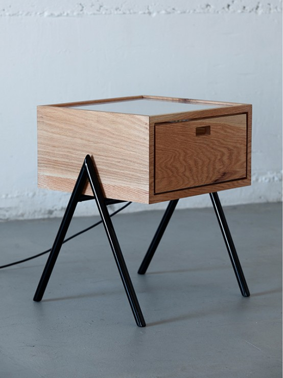 Modern Misko Nightstand With Led Lamps Inside