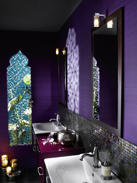 Modern moroccan bathroom furniture and inspiration for Purple bathroom tiles ideas