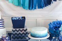 modern navy dessert table for a boy baby shower