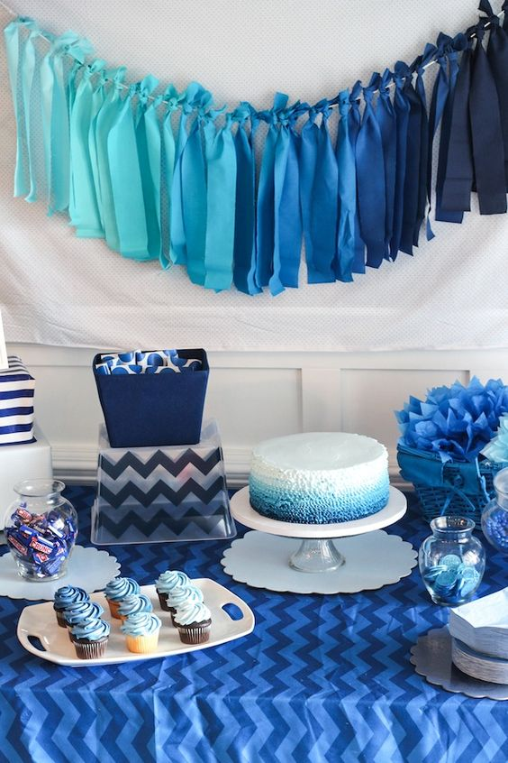 modern navy dessert table for a boy baby shower