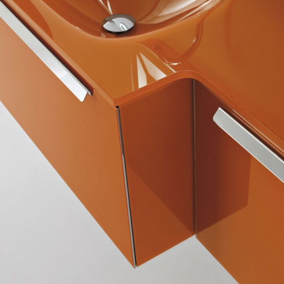Modern Orange Wall Mounted Washbasin