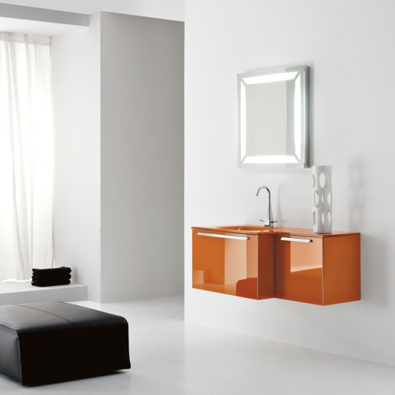 Modern Orange Wall Mounted Washbasin Cabinet