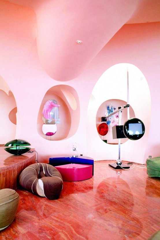 modern pinky living room - Bright Color Bedroom Ideas