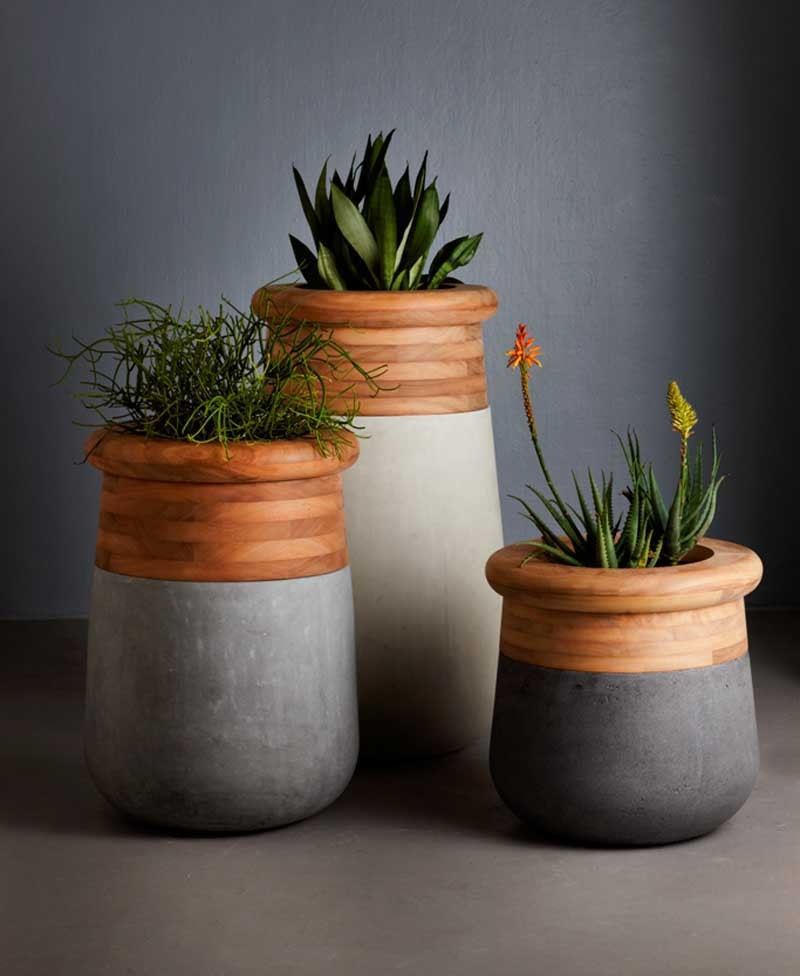 chic modern planters of concrete and wooden parts feature cool shapes and plenty of texture